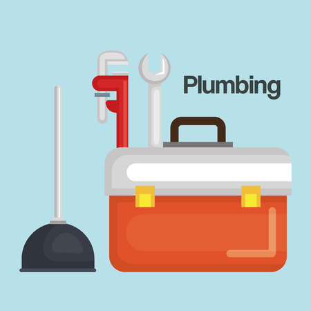 plumbing line tools set icons vector illustration design