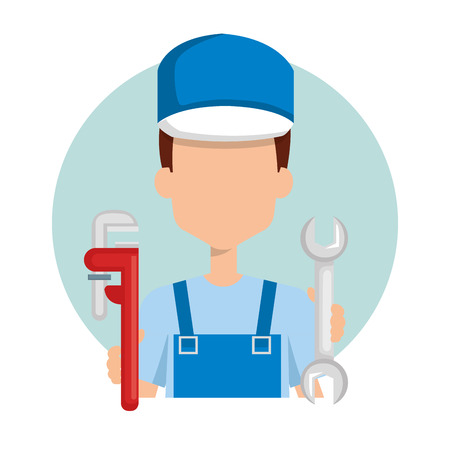 plumber with tool set vector illustration design