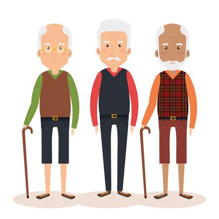 grandparents group avatars characters vector illustration design
