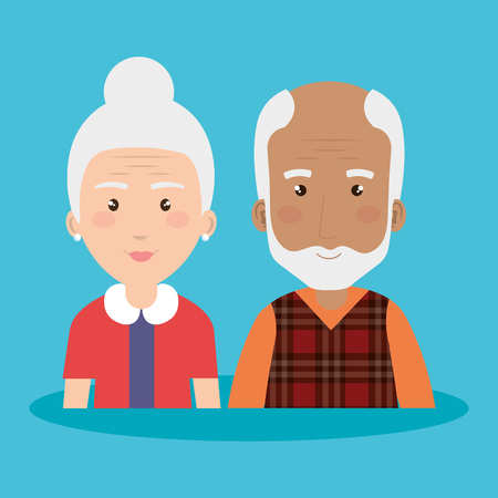 grandparents group avatars characters vector illustration design