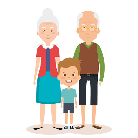 grandparents couple with grandson avatars characters vector illustration design Ilustrace