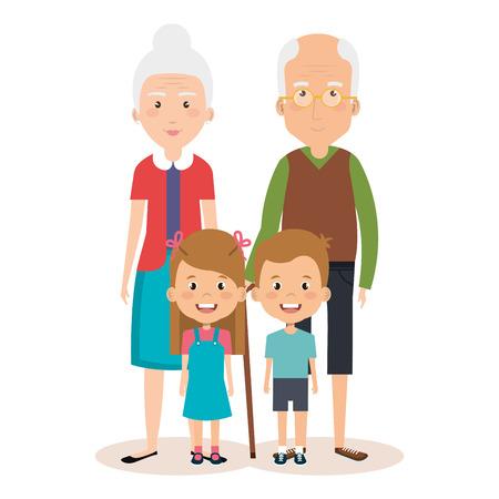 grandparents couple with grandchildren avatars vector illustration design