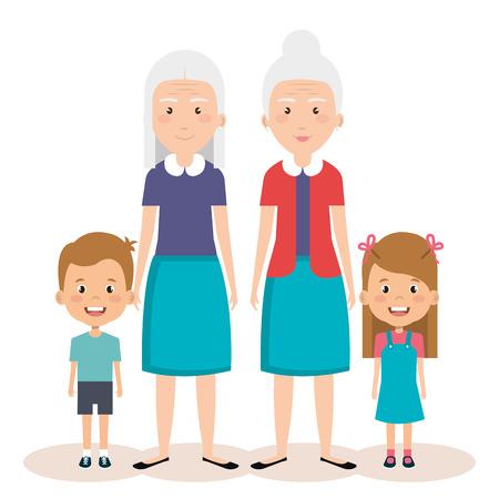 grootouders groep met kleinkinderen avatars vector illustratie ontwerp
