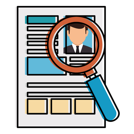 magnifying glass with curriculum vitae isolated icon vector illustration design