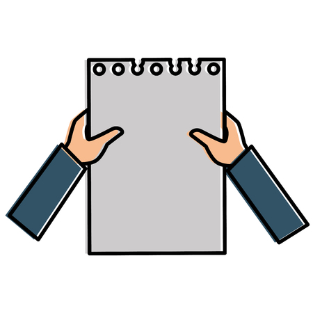 hands human with document paper isolated icon vector illustration design