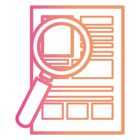 vergrootglas met curriculum vitae geïsoleerd pictogram vector illustratie ontwerp