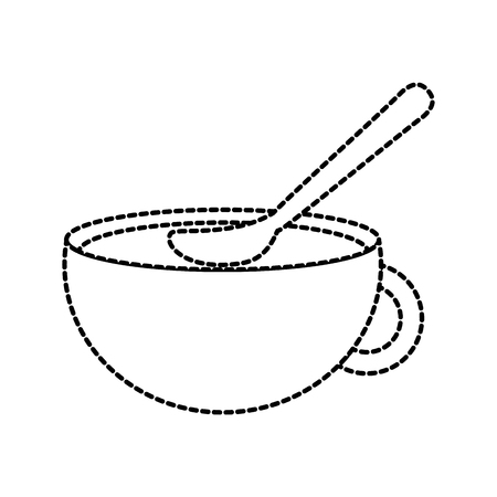 cup of beverage with spoon refreshment aroma liquid vector illustration Stok Fotoğraf - 86318315