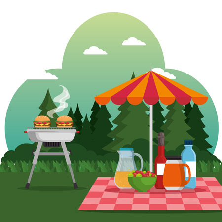 summer picnic outdoor barbecue grill vector illustration graphic design