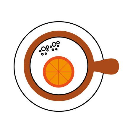 kopje thee met slice oranje verfrissing vloeibare vectorillustratie