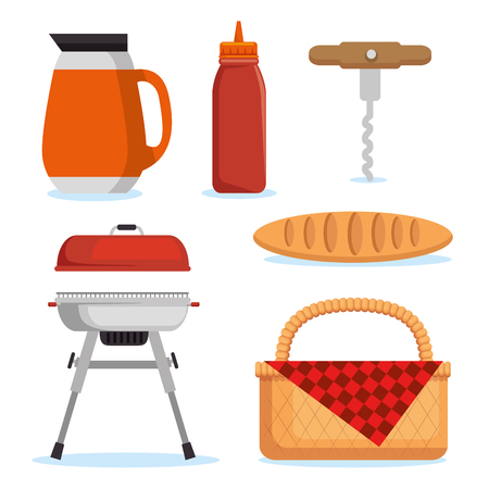 set of picnic icon vector illustration graphic design 向量圖像