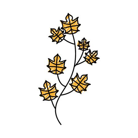 秋の木の枝は葉植物像ベクトルイラストを残します