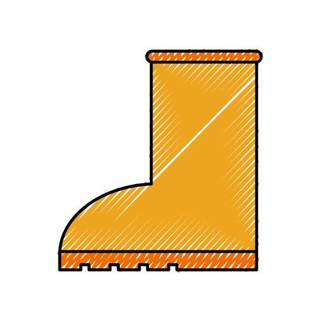 Stile stagionale dell'icona della pioggia dello stivale di gomma sull'illustrazione bianca di vettore del fondo Archivio Fotografico - 86318352