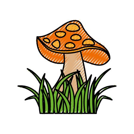 autumn icon mushroom in grass nature symbol vector illustration