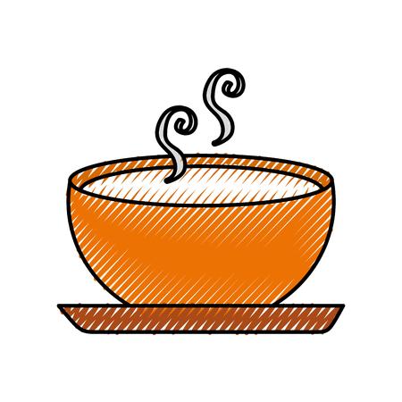 Köstliche Suppe Schüssel Lebensmittel der Saison Herbst Vektor-Illustration Standard-Bild - 86318364