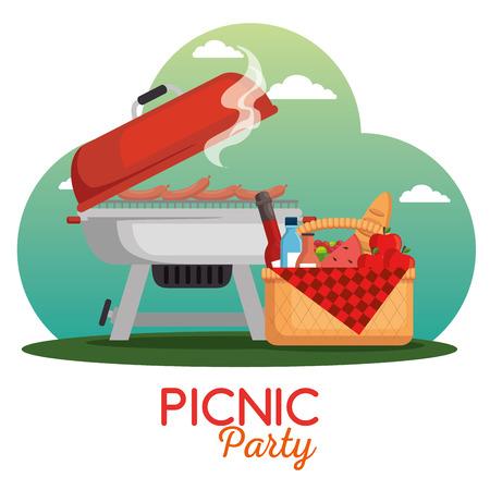 カラフルなピクニックパーティーポスターベクトルイラストグラフィックデザイン  イラスト・ベクター素材