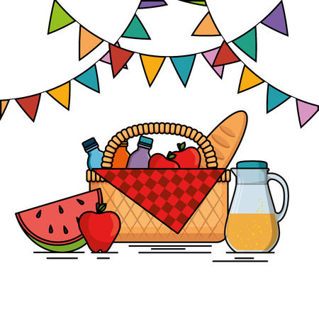 colorful picnic party poster vector illustration graphic design