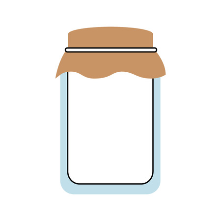glass jar with cap filled with honey vector illustration Çizim