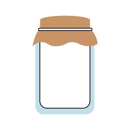 Tarro de cristal con tapa llena de ilustración vectorial de miel Foto de archivo - 86318412
