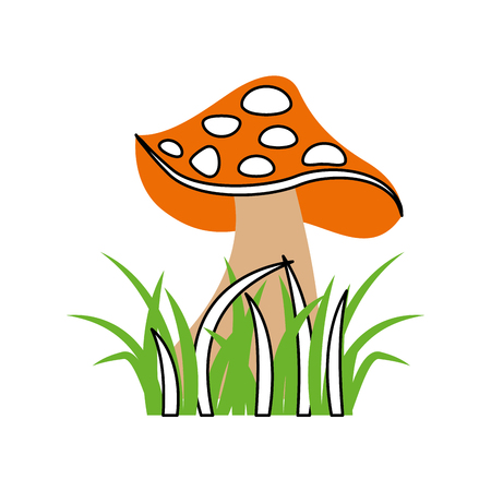autumn icon mushroom in grass nature symbol vector illustration