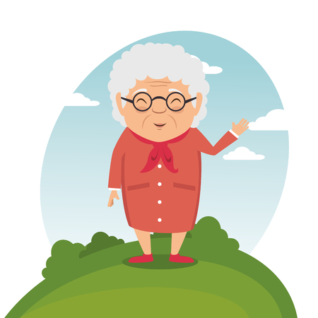 happy grandmother cartoon vector illustration graphic design
