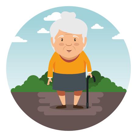Progettazione grafica dell'illustrazione di vettore del fumetto della nonna felice Archivio Fotografico - 86318433