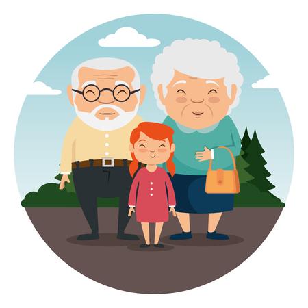 Famille de grands-parents avec petits-enfants vector illustration graphisme Banque d'images - 86318443