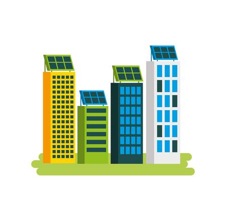 Casa di natura o di affari di ecologia urbana verde di energia verde con l'illustrazione di vettore del pannello solare Archivio Fotografico - 86318456