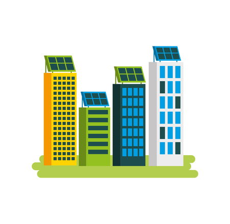 green energy urban ecology nature house or business building with solar panel vector illustration Ilustração