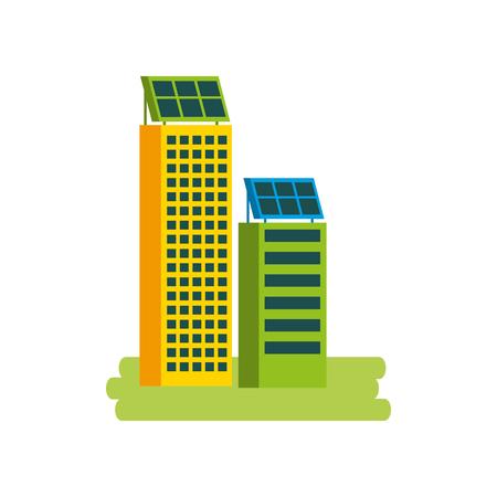 Casa di natura o di affari di ecologia urbana verde di energia verde con l'illustrazione di vettore del pannello solare Archivio Fotografico - 86318457