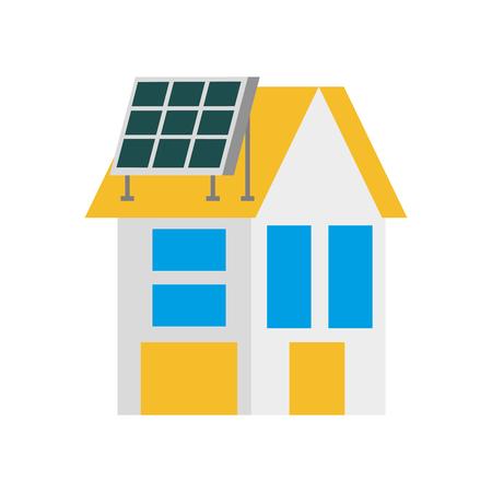 huis met zonnepaneel paneel voor onroerend goed vectorillustratie Stock Illustratie