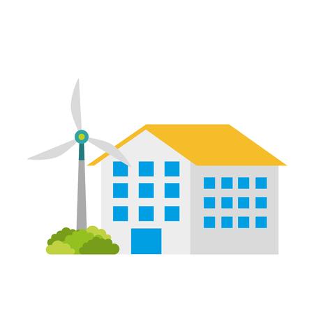 Costruzione di casa con turbina eolica eco immobiliare energia efficiente illustrazione vettoriale Archivio Fotografico - 86318486