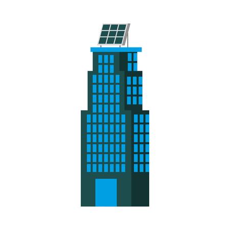 녹색 에너지 도시 생태 자연 집 또는 비즈니스 태양 전지 패널 벡터 일러스트와 함께 건물