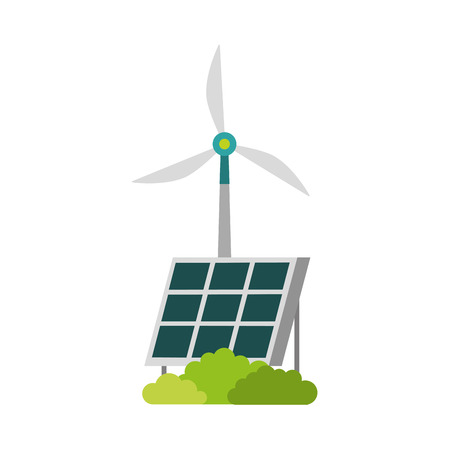 alternative sources of energy renewable windmills and solar panel vector illustration