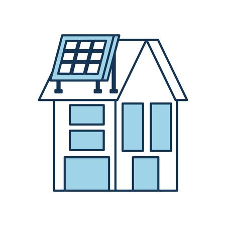 house with solar roof panels for real estate vector illustration Ilustração