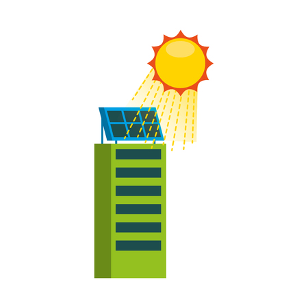 Casa di natura o di affari di ecologia urbana verde di energia verde con l'illustrazione di vettore del pannello solare Archivio Fotografico - 86318512