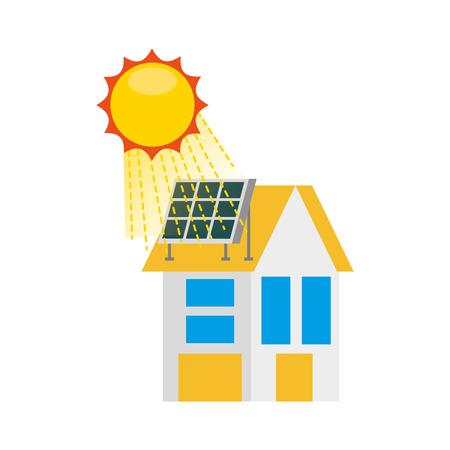 Haus mit Sonnenkollektoren für Immobilien Vektor-Illustration Standard-Bild - 86318513