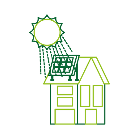 house with solar roof panels for real estate vector illustration Illustration