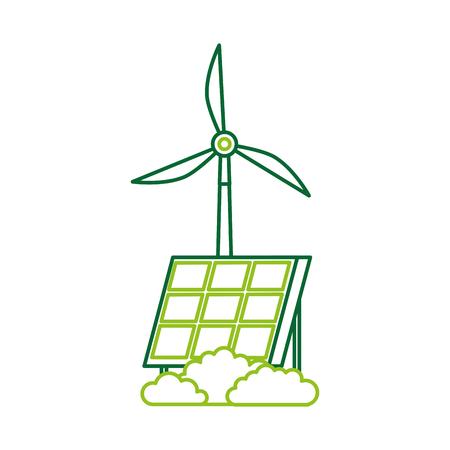 alternatieve bronnen van energie hernieuwbare windmolen en zonnepaneel vectorillustratie Stock Illustratie