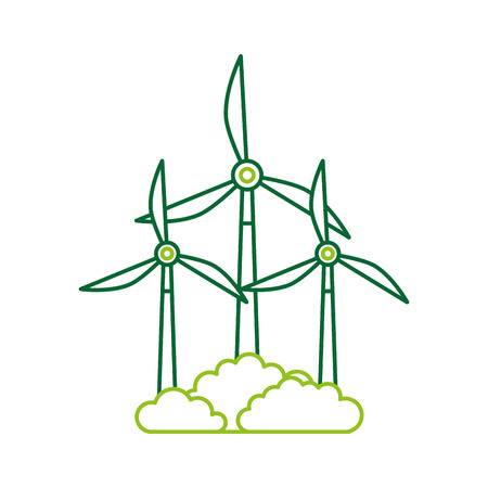 alternative sources of energy renewable windmills vector illustration