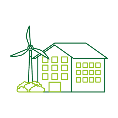 house building with wind turbine eco real estate energy efficient vector illustration Çizim