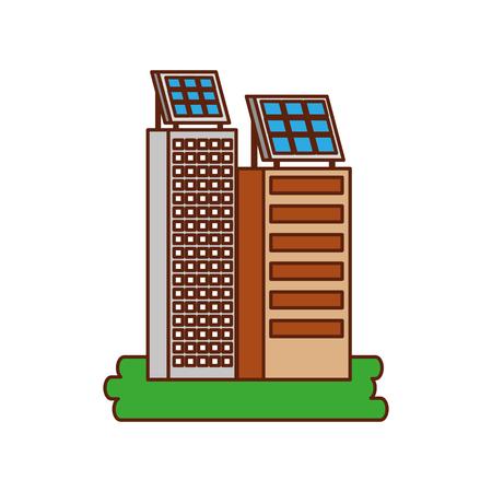 Casa di natura o di affari di ecologia urbana verde di energia verde con l'illustrazione di vettore del pannello solare Archivio Fotografico - 86318546