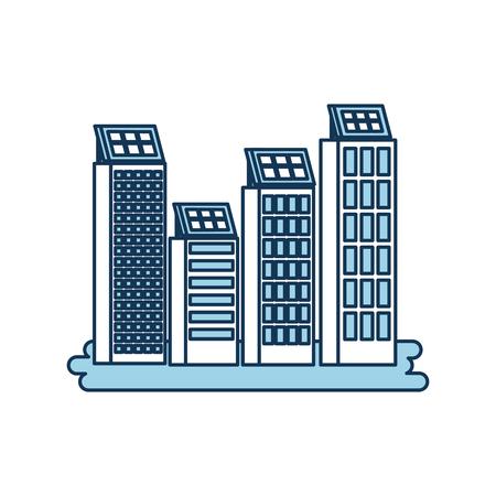 Green energy house urbaine nature de l & # 39 ; environnement ou bâtiment de l & # 39 ; entreprise avec le panneau solaire illustration vectorielle Banque d'images - 86318549