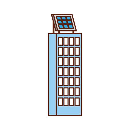 グリーンエネルギー都市生態学ネイチャーハウスまたはソーラーパネルベクトルイラストを使用したビジネスビル