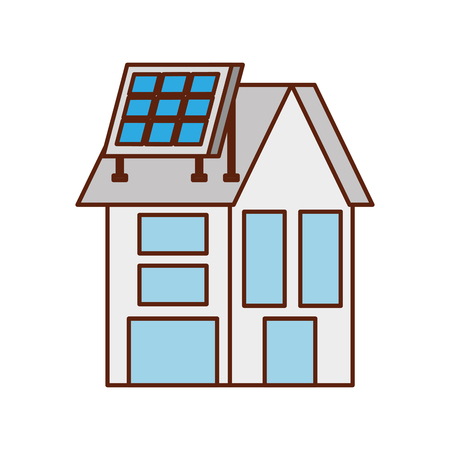 house with solar roof panel for real estate Ilustrace