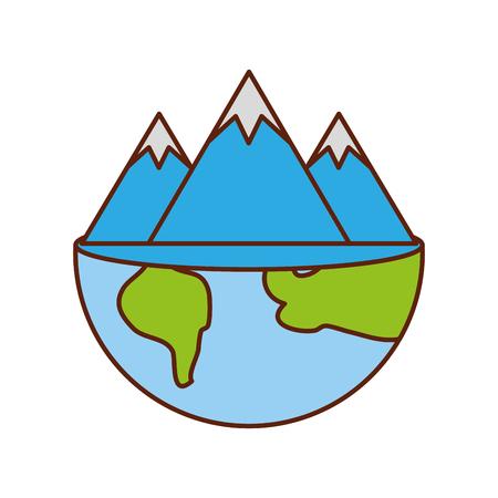 global mountain ecology natural environment concept vector illustration