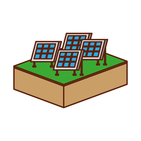 solar panels modern technologies alternative energy sources vector illustration Ilustração