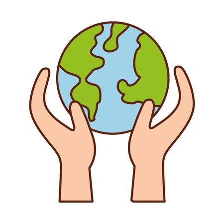 Mano que sostiene el planeta tierra eco ambiental ilustración vectorial concepto Foto de archivo - 86318570