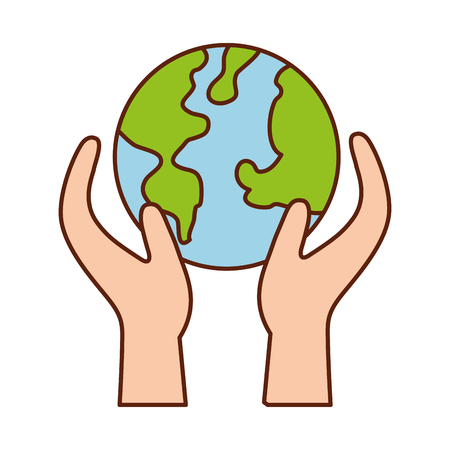 hand holding planet earth ecological environmental concept vector illustration