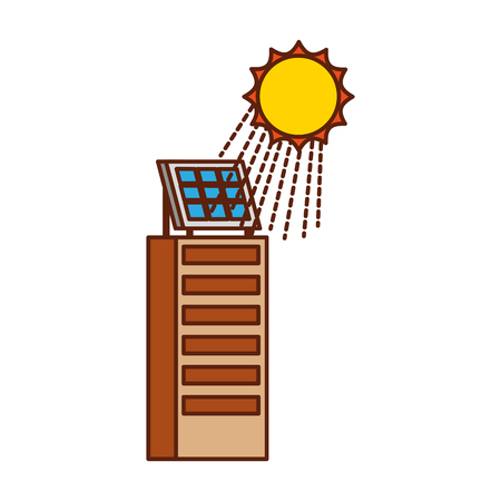 Casa di natura o di affari di ecologia urbana verde di energia verde con l'illustrazione di vettore del pannello solare Archivio Fotografico - 86318571