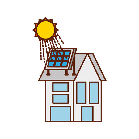 house with solar roof panel for real estate Illustration